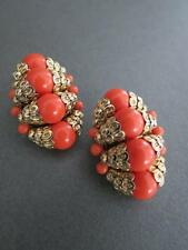 Vintage Crown Trifari Faux Coral Earrings