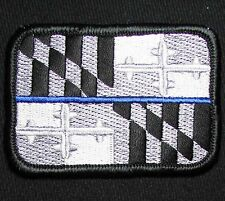 MARYLAND STATE FLAG TACTICAL POLICE MORALE POLICE THIN BLUE LINE IRON ON PATCH