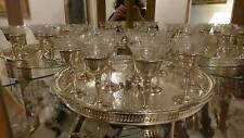 STERLING and Etched Crystal Cordials twelve Wine Glasses Goblets & Tray