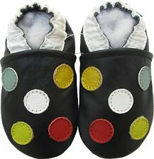 carozoo five dots  black 2-3y new soft leather toddler shoes
