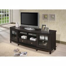 Wood TV Stand Media Storage Cabinet Entertainment Center Holds 70 Inch TV Brown