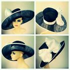Ladies Large black and white hat with large bow, ascot wedding races formal