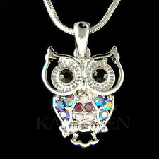w Swarovski Crystal ~Purple Owl~ Bird Wise Smart Teacher Charm Necklace Jewelry