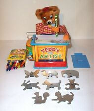 MINT 1950's BATTERY OPERATED TEDDY THE ARTIST BEAR TIN LITHO TOY JAPAN *working*