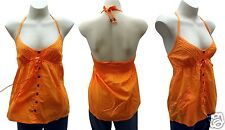 New Ripcurl Baby Doll Halter Top Size 10 Rip Curl Tikki Orange Surf Shirt RRP$70
