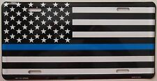 MADE IN USA - THIN BLUE LINE LICENSE PLATE - POLICE SUPPORT CAR TAG - MEMORIAL
