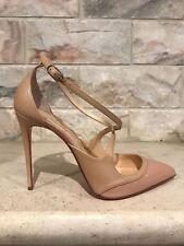 NIB Christian Louboutin Crissos 100 Nude Doudou Patent Criss Heel Pump 39.5 $845