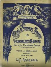 Vintage Christmas Joys German Piano Music Early English Silent Night Lyrics 1908