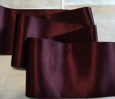 """4"""" WIDE SWISS DOUBLE FACE SATIN RIBBON- BURGUNDY-  BY THE YARD"""