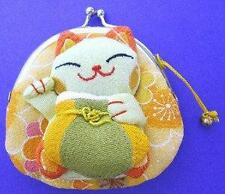Japanese Maneki Neko Lucky Cat Coin Purse Bag #22408-8