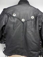 Men's Jamin Black Motorcycle Leather Jacket Zipout Liner Buckel Braid Lace sz 44
