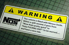 NOS WARNING JUST Sticker Decal Vinyl JDM Euro Drift Lowered illest Fatlace