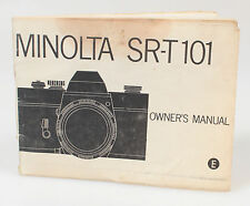 MINOLTA SR-T101 OWNERS MANUAL