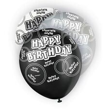 "6 Black Sparkle Happy Birthday 12"" Pearlized Printed Latex Balloons"