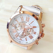 Geneva White Women Girl Roman Numerals Faux Leather Band Quartz Lady Wrist Watch