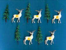 5 REINDEER & 5 CHRISTMAS TREE CAKE DECORATIONS - FREE 1st CLASS POST