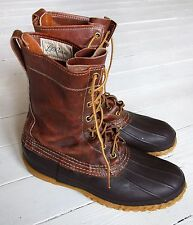 "60s VTG BEAN BOOTS LL Bean 10"" Duck Hunting Brown Maine USA M 8  W 10 Cursive"