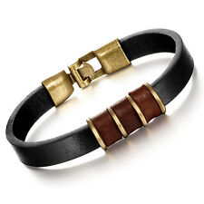 Genuine Cow Leather Bracelet Black Brown Unisex Hook Clasp G317