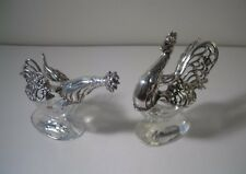 A Rare Pair of 'Hen & Cockerel' Silver and Crystal Salts : Germany c1890