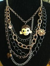 Betsey Johnson Monkey Face Multi-Chain & Charms Necklace New Tags MSRP $68