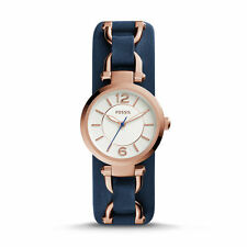 Fossil ES3857 Women's Georgia Artisan Three-Hand Blue Leather Watch