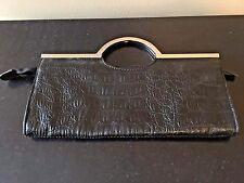 Candie's Candies Black Clutch Faux Crocodile Purse Bag with Silver Metal Handles