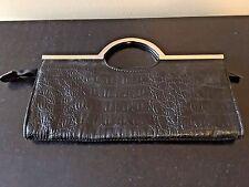 Candie's Candies Black Clutch Faux Crocodile Purse Bag with Silver Metal Handles