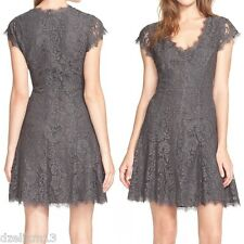 NWT $348 Joie Eshe Fit Flare Lace Dress in Steel Gray Size 10