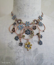 PILGRIM Necklace ENCHANTED FLOWER Copper Grey Blue BNWT RRP £89.90 Last Ones!
