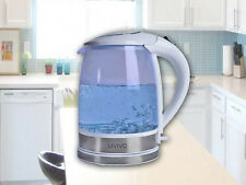 WHITE ELECTRIC GLASS KETTLE BLUE LED ILLUMINATED 2L 360° CORDLESS 2200W HOME