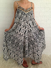 Women's Sleeveless Boho Gypsy Floaty Summer Maxi Long Casual Dress Size 18-20-22