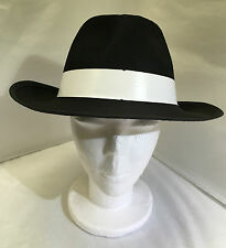 New Gangster hat deluxe black feltex with white band Al Capone fancy dress