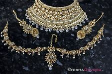 Indian Bridal Wedding Necklace Set Gold Statement Piece