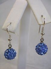 SWAROVSKI ELEMENT LIGHT SAPPHIRE BLUE CRYSTAL BALL EARRINGS IN STERLING SILVER