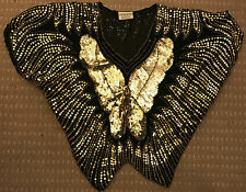 VINTAGE BUTTERFLY BLACK GOLD SILK SEQUIN PARTY DISCO CLUBWEAR CRUISE TOP