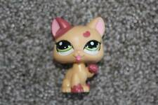 Littlest Pet Shop Heart Kitty #2355 Peach Licking Paw Cat Green Eyes LPS Toy