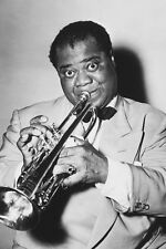 Louis Armstrong 11x17 Mini Poster playing trumpet