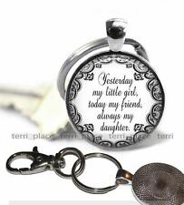 My Little Girl Friend Daughter Pendant Key Chain Glass Top Mother Daughter Gift