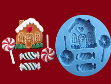 Christmas Candy House Sweets Lollies Cake Decorating Sugarcraft silicone mould.