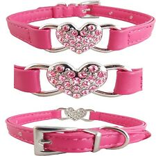 "Adjustable Hot Pink Leather Bling Heart Charm Collar for Dogs (Medium: 11""-14"")"