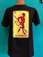"""MEXICAN POP ART LOTERIA CARD """"EL DIABLITO"""" SILK SCREEN PRINT MEN'S TEE SIZE 3XL"""