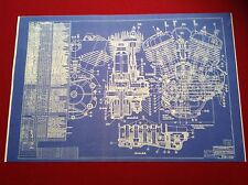 Harley Davidson Vintage Flathead Motorcycle Blueprint Poster Picture Sign HD