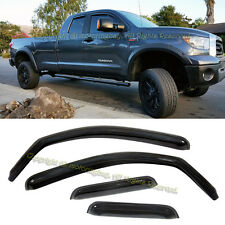 For 07-17 Toyota Tundra Double Cab IN CHANNEL Side Window Visors Smoke Tinted