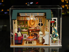 Kits Wood Dollhouse Miniature DIY House Room with Furniture+Cover Holiday Time