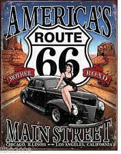 ROUTE 66, AMERICA'S MAIN ST, METAL  WALL SIGN, 40X30 CM, hot rod/ pin-up, GARAGE