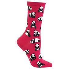 Panda Bear Trouser Crew Socks Bright Pink BG NWT Women's Sock Size 9-11 HOTSOX