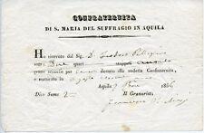 L'AQUILA 1856 ABRUZZO REGNO DELLE DUE SICILIE RICEVUTA DONAZIONE GRANO SUFFRAGIO
