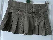 Gorgeous JANE NORMAN Brown/Beige Check Pleated Mini Skirt - Size 8 - VGC