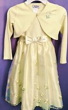 YOUNGLAND Little Girl's Yellow Easter Party Church  Dress w/Shrug Size 6 NEW