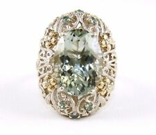 Natural Oval Green Amethyst Ring w/Filigree Accents 925 Sterling Silver 18.67Ct